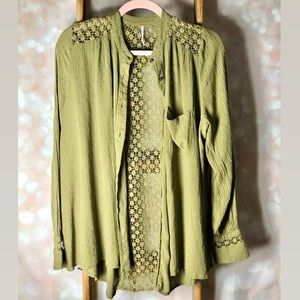 Free People Green Crochet Boho Button Up Shirt